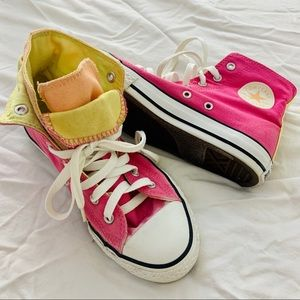 Converse layered & overlapped pink shoes